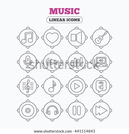Linear icons with direction arrows. Music icons. Musical note, acoustic guitar and microphone. Notebook, dynamic and headphones symbols. Circle buttons. - stock photo