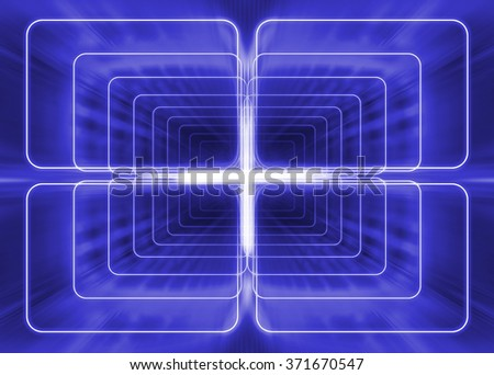 linear projection of space like geometrical beams - stock photo