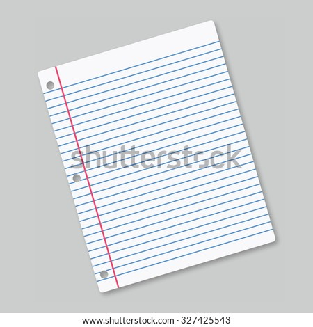 Lined sheet of paper on grey background - stock photo
