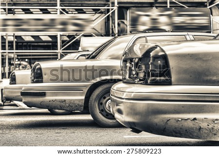 Lined up Cabs in New York avenue - stock photo