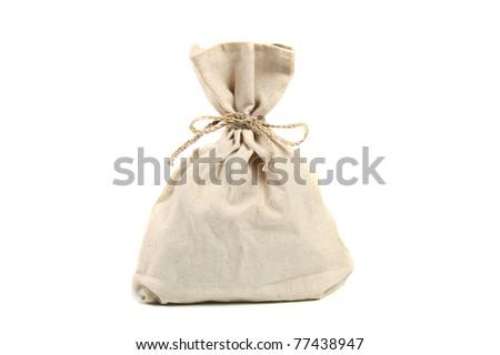 linen bag isolated on white - stock photo