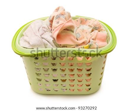 linen in a basket on a white background - stock photo