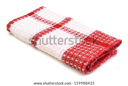 linen kitchen towels on a white background  - stock photo