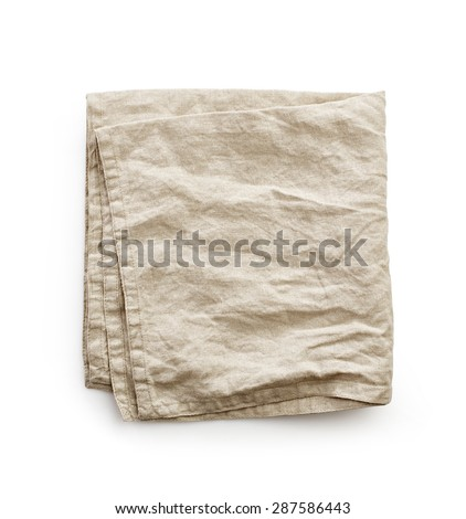 linen napkin on a white background, top view - stock photo