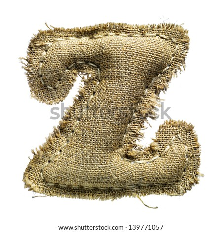 Linen or hemp vintage cloth letter z isolated on white - stock photo