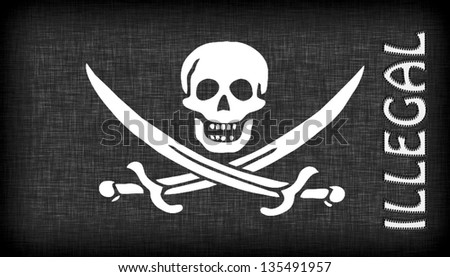 Linen pirate flag with letters stitched on it - stock photo