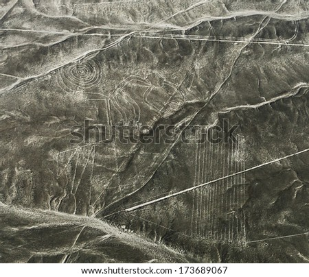Lines and Geoglyphs in the Nazca desert. It is a designated UNESCO World Heritage Site - Peru, South America - stock photo