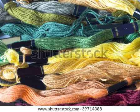lines of colorful yarns - stock photo