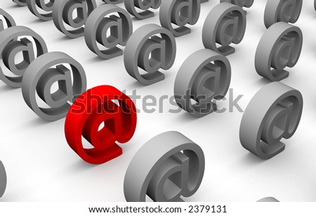 Lines of email marks - stock photo