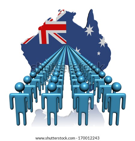 Lines of people with Australia map flag illustration - stock photo