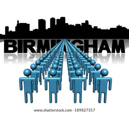 Lines of people with Birmingham Alabama skyline illustration - stock photo