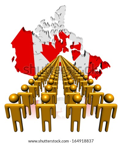 Lines of people with Canada map flag illustration - stock photo