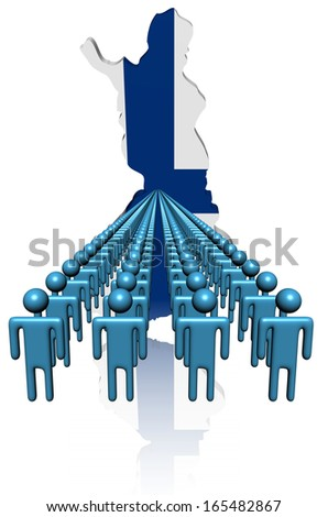Lines of people with Finland map flag illustration - stock photo