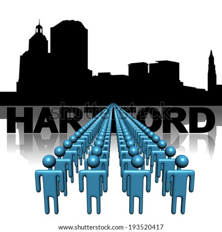 Lines of people with Hartford skyline illustration - stock photo
