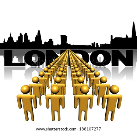 Lines of people with London skyline illustration - stock photo