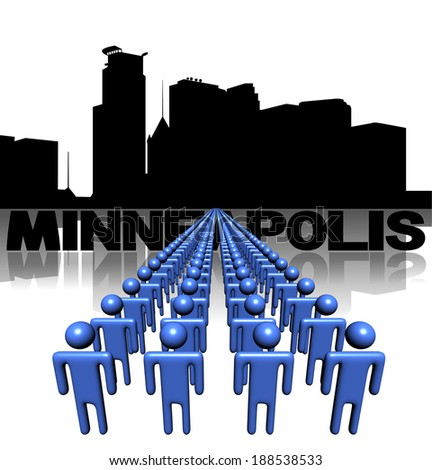 Lines of people with Minneapolis skyline illustration - stock photo