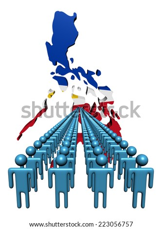 Lines of people with Philippines map flag illustration - stock photo