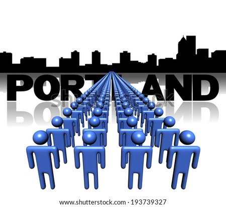 Lines of people with Portland skyline illustration - stock photo