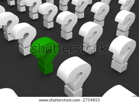 Lines of question sign - one sign marked green - stock photo
