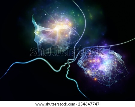 Lines of the Emotion series. Backdrop of graceful human profiles and abstract elements on the subject of mind, spirituality, reason and emotions - stock photo