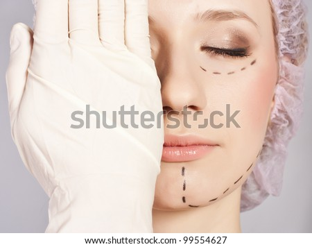 Lines on an attractive Caucasian lady face - stock photo