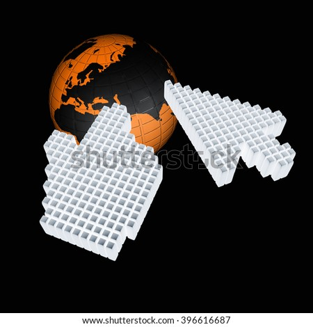 Link selection computer mouse cursor and Earth - Glodal internet concept - stock photo