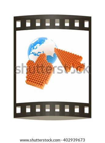 Link selection computer mouse cursor and Earth - Glodal internet concept on white background. The film strip. 3D illustration - stock photo
