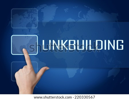 Linkbuilding concept with interface and world map on blue background - stock photo