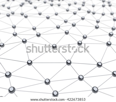 Linked atom chrome surface science 3D rendering background. - stock photo