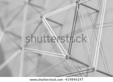 Linking entities. Network, networking, social media, internet communication abstract. A small network connected to a larger network. Network concept.Photo black and white. - stock photo