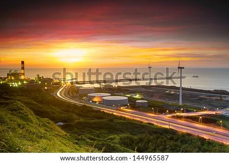 Linkou thermal field sunset, Taiwan - stock photo