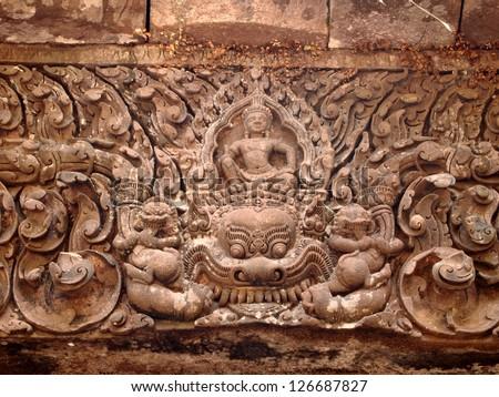 Lintel of Upper Level Sanctuary at Wat Phu in Champasak, Laos - a UNESCO World Heritage Site - stock photo