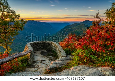 Linville Gorge, North Carolina, scenic autumn sunrise  - stock photo