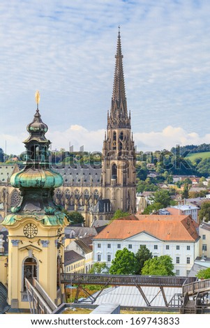 Linz Cityscape with New Cathedral and Church of the Ursulines, Austria - stock photo