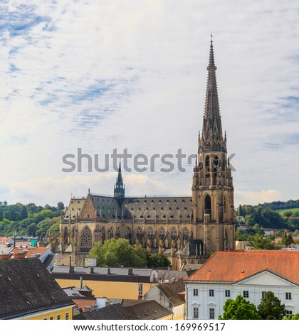 Linz Cityscape with New Cathedral, Austria - stock photo