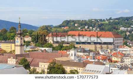 Linz Cityscape with Schlossmuseum and Tower of Upper Austrian Landtag (Parliament), Austria - stock photo