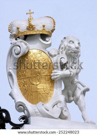 Lion bears the arms of the Prince of Savoy, at the main gate of Belvedere Palace Vienna - stock photo