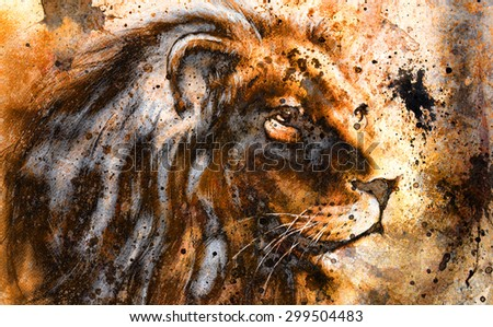 lion collage on color abstract  background,  rust structure, wildlife animals - stock photo