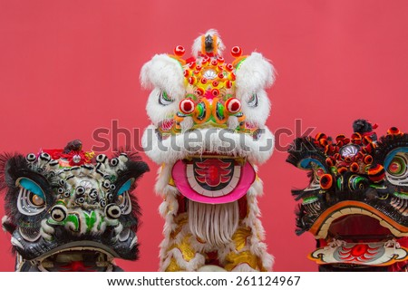 Lion Dance Costume used during Chinese New Year  - stock photo
