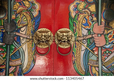 lion door decoration/door knocker - stock photo