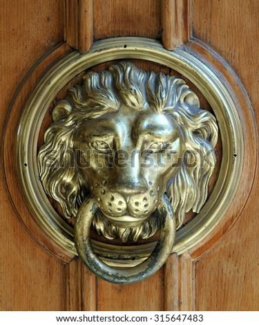 Antique bronze face lion sculpture stock photos images pictures shutterstock - Lion face door knocker ...