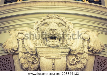 Lion head model is art ,Carve for cement - stock photo