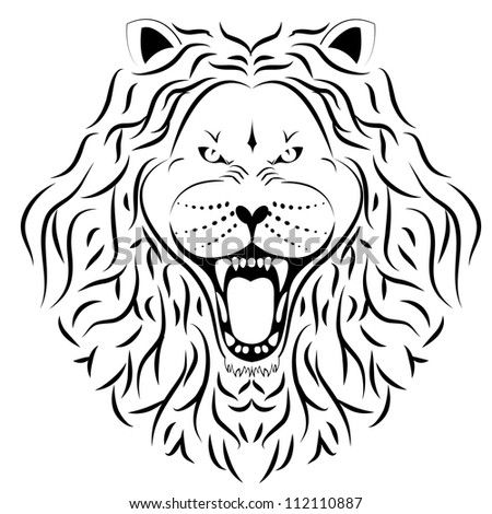 lion head tattoo - stock photo