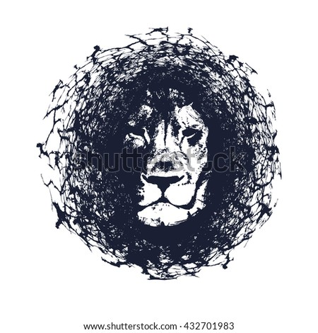 Lion. Illustration in grunge style. Element for your design. - stock photo