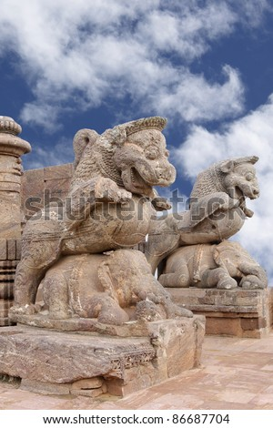 lion quelling war elephant, sun temple, Konark - stock photo