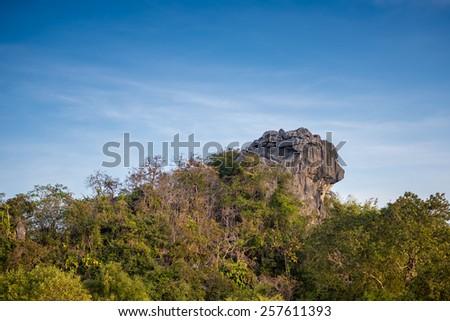 Lion Rock ,Pha Hua Sing of SI Nan National Park, Thailand - stock photo