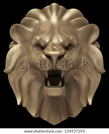 Lion's Head. Artistic 'bronze' sculpture of a lion head, isolated on black background. 3D rendered image - stock photo