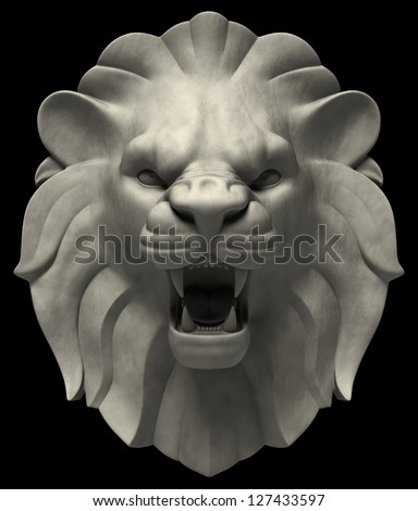 Lion's Head. Artistic lion head sculpture, isolated on black background. 3D rendered image - stock photo