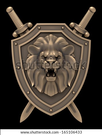 Lion's Head Blazon. Artistic sculpture of a lion head on the shield with the crossed swords, isolated on black background. 3D rendered image - stock photo