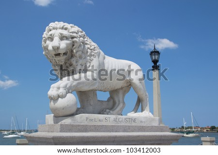 Lion Statue at the Bridge of Lions in St Augustine, FL, USA. - stock photo